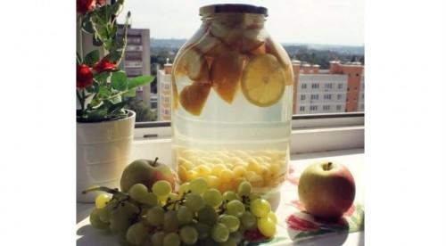 компот яблоки, виноград