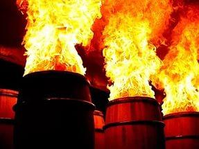 Обработка бочки из дуба огнем