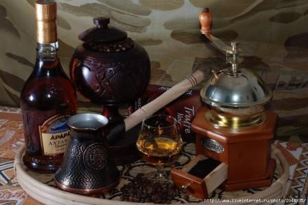 кофе в турке и коньяк