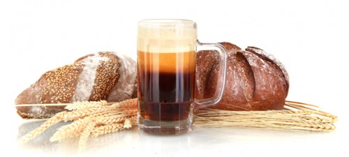 kvass with bread isolated on white
